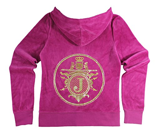 Juicy Couture Glitter Rhinestone (Juicy Couture Womens Crown Jewel L/S Velour Hoodie (Small, pink)