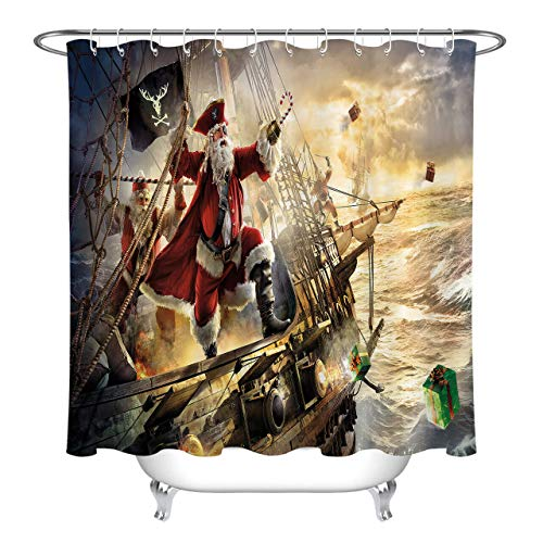 youyoutang Polyester Waterproof Fabric Pirate Ship Santa Claus Shower Curtain Liner 3D High-Definition Printing Does Not Fade,12 Shower Hooks,70.8X70.8 Inch,Home Decor,Bathroom Accessories ()