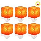 6 Pack Himalayan Rock Tibet Crystal Salt Lamp Travel Size Night Light Mood Relaxing Lamp Soft Soothing Amber Glow 100% Natural Air Filter Purifier Negative Ion Releaser Pollen Allergen Remover Pink