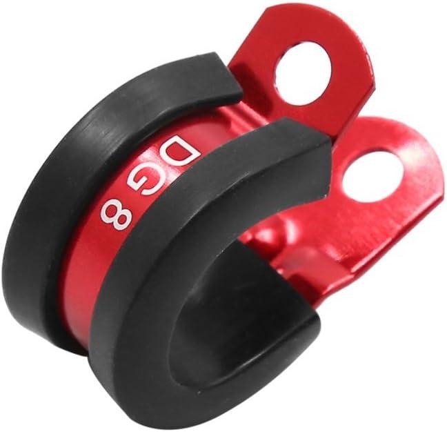 Abrazadera roja del tubo del tubo del clip de la manguera del combustible del aceite del di/ámetro de la aleaci/ón de aluminio 16m m para el coche auto