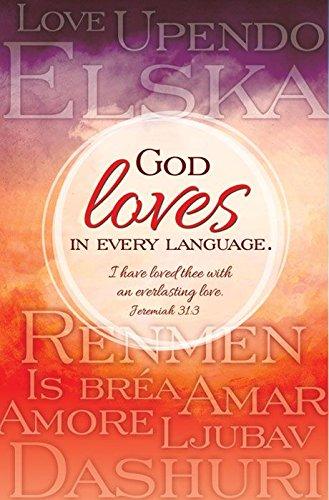 General Worship Bulletin - God loves in every language - KJV - (Package of 100)