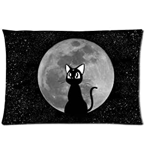 Moon Starry Sky A Small Black Cat Cute Design Zippered Pillow Case 20x30 (Twin sides) by icecream design
