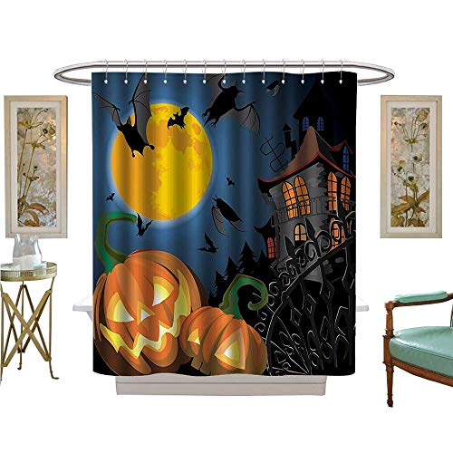 PINAFORE Shower Curtains 3D Digital Printing Gothic e with Halloween Haunted House Party Theme Trick or Treat Bathroom Set with Hooks for $<!--$37.60-->