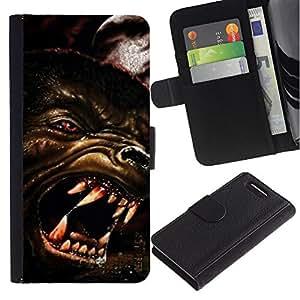 A-type (Lobo enojado Perro Red Eyes Arte Cara Dientes Hocico) Colorida Impresión Funda Cuero Monedero Caja Bolsa Cubierta Caja Piel Card Slots Para Sony Xperia Z1 Compact / Z1 Mini (Not Z1) D5503