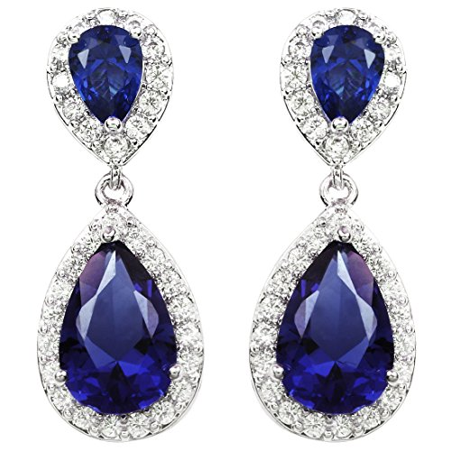 FC JORY White Gold Plated Royal Blue Sapphire Color Crystal CZ Tear Drop Clip On Earrings