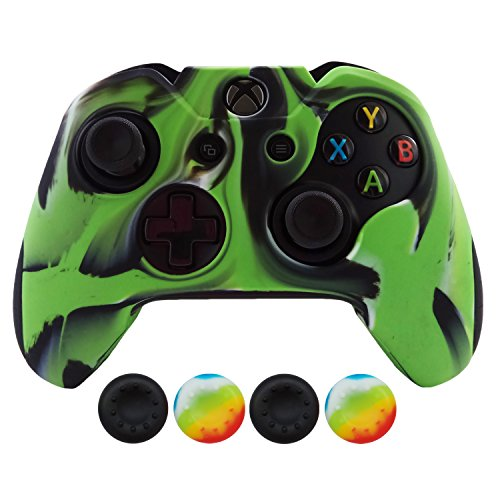 Hikfly Super Thicker Rubber Oil Silicone Controller Cover with 4pcs Thumb Grips Caps Kits for Xbox One Controller (Green Camouflage)