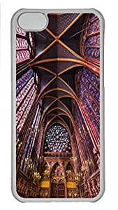 Case Cover for iPhone 5C Transparent Hard Plastic Skin Shell for iPhone 5C with Oh La Lah Sainte Chapelle