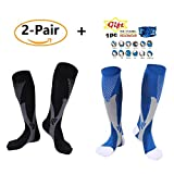 (2Pair) Recovery & Performance Sports Graduated Compression Socks- Men & Women + Free Headware