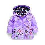 child raincoat - SODIAL(R) Children Hooded Jacket Boys Girls Jackets Coats Children's Coat Spring/Autumn Fashion Children Flower Raincoat Clothing(Purple 5T=120CM)