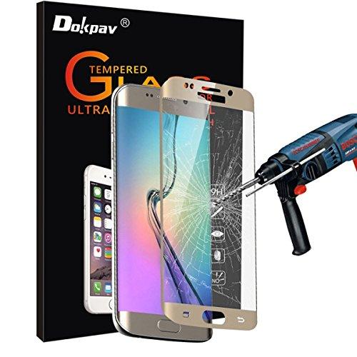 S6 Edge Plus Screen Protector,Dokpav® Ultra Slim Samsung Galaxy S6 Edge Plus Tempered Glass Full Screen Protector, Protective Film Anti-scratch Anti-fingerprint - Gold