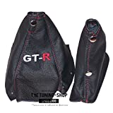 """For Nissan Skyline R34 1998-2002 Shift & E brake Boot Black Genuine Leather Red """"GT-R"""" Embroidery"""
