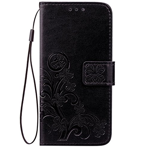 OnePlus 5T Case,AutumnFall New Grass Pattern Faux Leather Wallet Cards Holder Stand Case Cover For OnePlus 5T (Black) ()