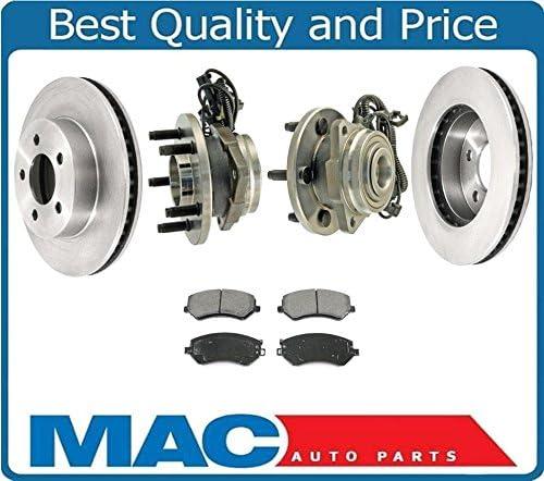 Mac Auto Parts 02-07 Liberty Frt Hub Wheel Bearing Bearings with ABS Disc Brake Rotors Pads 5Pc