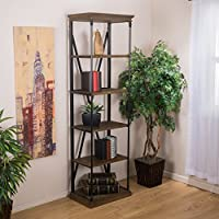 Brennon 5-Shelf Industrial Dark Khaki Wood Bookshelf