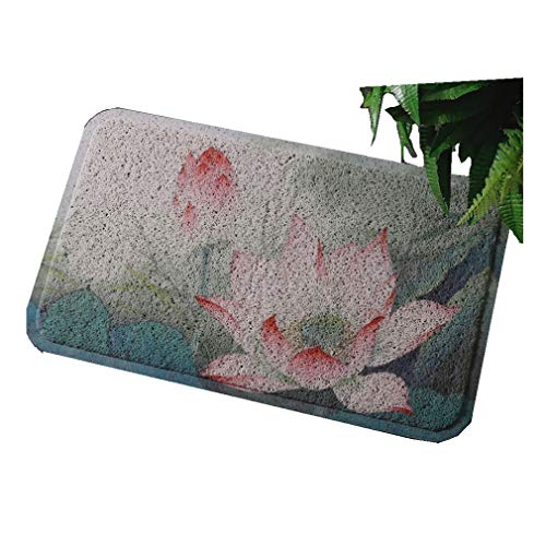 - ZYQJ Entry Mats Neoclassical Style Pedal Feet Non-Slip Wearable Nails Hotel Door Mats Thickness 1cm, Botanical Flowers (Color : A, Size : 80cmx120cm)