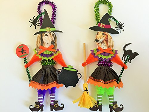 Saluki HALLOWEEN WITCH ORNAMENTS Vintage Style Dog Chenille Ornaments Set of 2