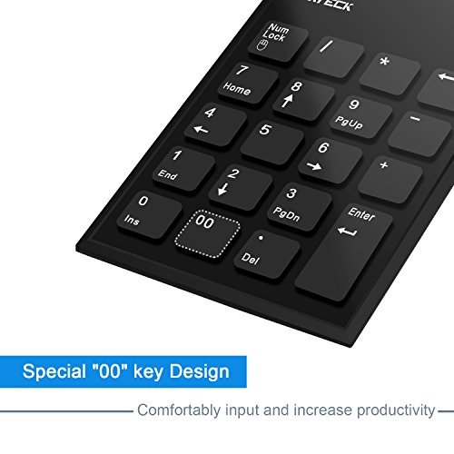 Numeric Keypad & Mouse Combo, Cateck 2.4G Wireless Mini USB Number Pad Keyboard and Mouse combo with USB receiver for Laptop Desktop PC Notebook- Just One USB receiver by Cateck (Image #1)