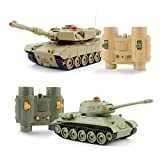 GizmoVine RC Fighting Battle Tank 1:32, Set of 2 Russian T-34 VS USA M1A2, Remote Control Battling Tank Toys for Kids, Boys Khaki VS Green