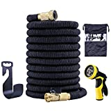 Garden Hose,50FT TPE Garden Hose Expandable,Spray Nozzle with 9 Funtions,Extra Strength Fabric 3750D, High temperature Latex and Solid Brass Connector