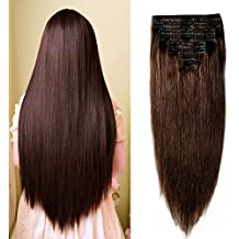"Double Weft 100% Remy Human Hair Clip in Extensions 14''-22'' Grade 7A Quality Full Head Thick Long Soft Silky Straight 8pcs 18clips for Women Fashion (18"" / 18 inch 140g ,#2 dark brown)"
