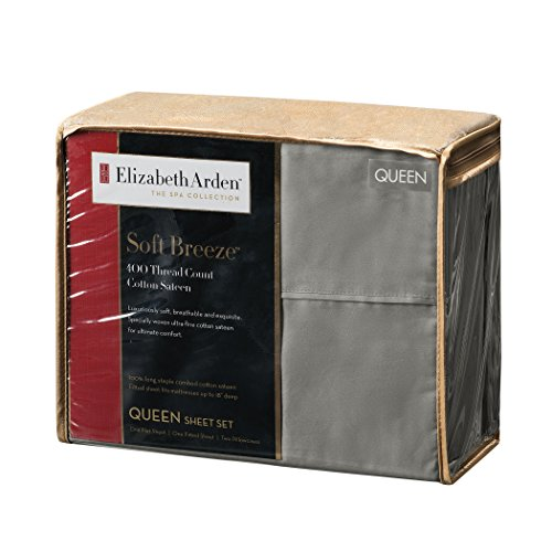 (Elizabeth Arden Soft Breeze 400 Thread Count Cotton 4-Piece Sheet Set - Natural Pure Long-Staple Cotton - Soft & Silky - Deep Fitted Pocket Fits Mattress up to 18