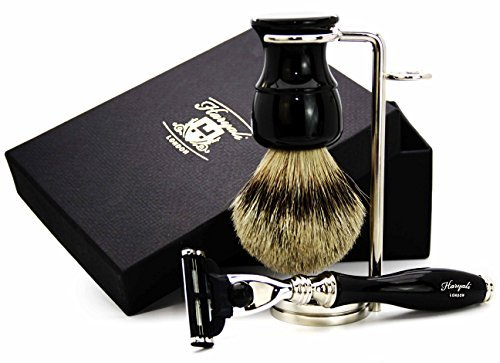 Pure Sliver Tip Badger Hair Shaving Brush, Gillette Mach 3 & Brush Stand. The Set Is In Black Colour. Perfect Finishing.