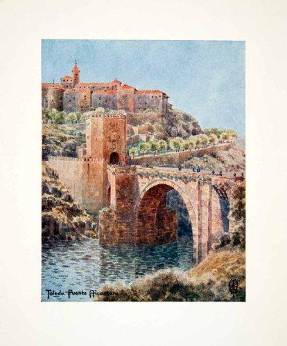 1906 Color Print Wigram Puente Bridge Alcantara Spain Toledo Archway Tower River - Original Color - Alcantara Colors