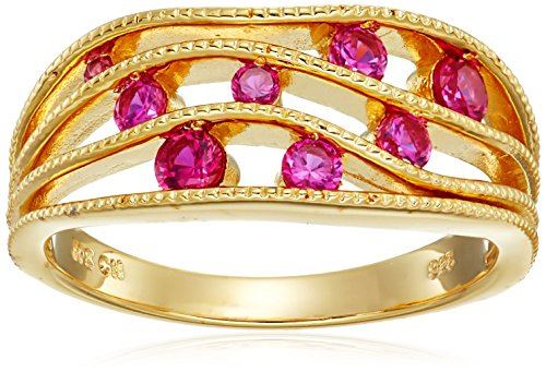 Yellow Gold Plated Sterling Silver Multi-Wave Row Created-Ruby Ring