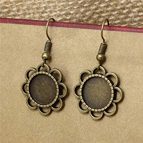 Laliva 20pc/lot 12mm Bronze Flower Earring Base Cabochon Setting Earring Base Metal Blanks Round Bezel Fit Jewelry Findings T571