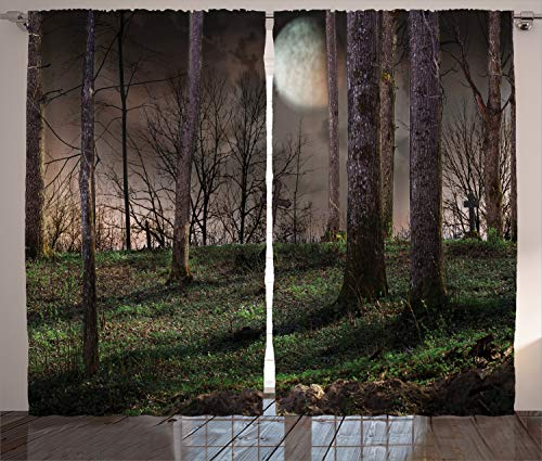 "Ambesonne Gothic Curtains, Dark Night in The Forest with Full Moon Horror Theme Grunge Style Halloween, Living Room Bedroom Window Drapes 2 Panel Set, 108"" X 84"", Yellow Brown"