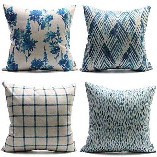 (DANLIA New Living Blue Cream Decorative Throw Pillow Case 18