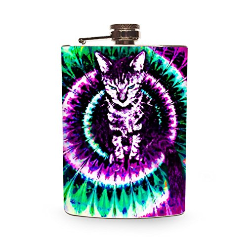 Kitten Flask 8oz Silver Metal Hip Flasks for Drinking Alcohol Whiskey Vodka Tequila Spirits Cat Cats Kitty tie dye trippy fractal Stainless Steel Container - Gift - Spirit Flask