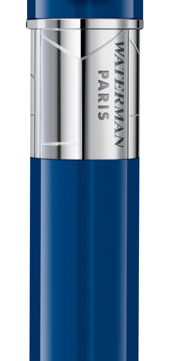 Waterman Perspective Rollerball Pen, Gloss Blue with Chrome Trim, Fine Point with Black Ink Cartridge, Gift Box by Waterman (Image #2)
