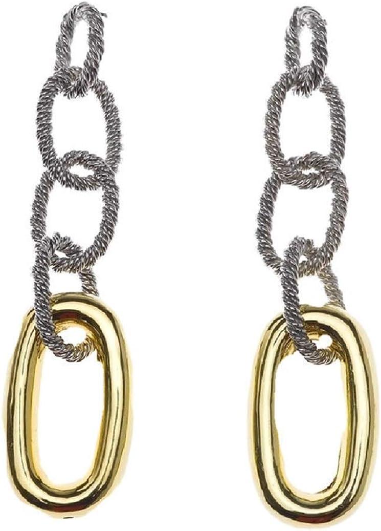 Pendientes Mujer SALVATORE Plata de Ley 925 Dos Colores Rodiada y Bañada en Oro Cierre Espárrago y Presión Eslabones Cuerda Marinera