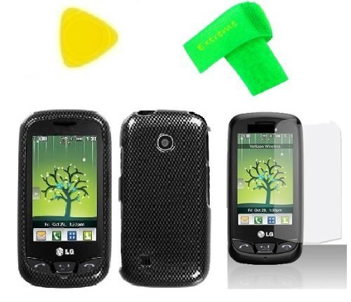 Phone Cover Case Cell Phone Accessory + Extreme Band + LCD Screen Protector + Yellow Pry Tool for Straight Talk Tracfone LG 505C LG505C LG 505 C (Carbon Fiber Design) (Fiber Faceplate Protector Carbon)