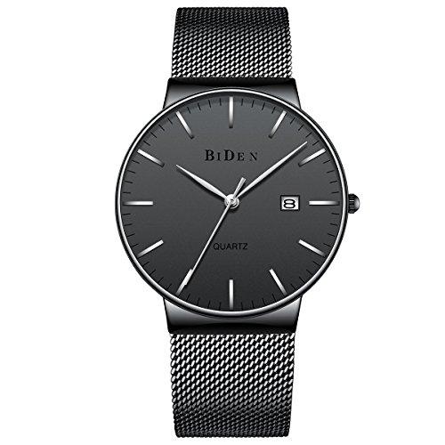 ss Steel Slim Wrist Watch Analog Quartz Simple Design Watches with Mesh Band (black) (Stainless Steel Wrist Watch Box)