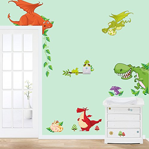 MLM Cute Cartoon Colorful Dinosaur Zoo Children's Room Decor Kindergarten Boys And Girls Bedroom Furnished Cartoon Sticker Removable Vinyl Wall Stickers Dinosaur Room Decor