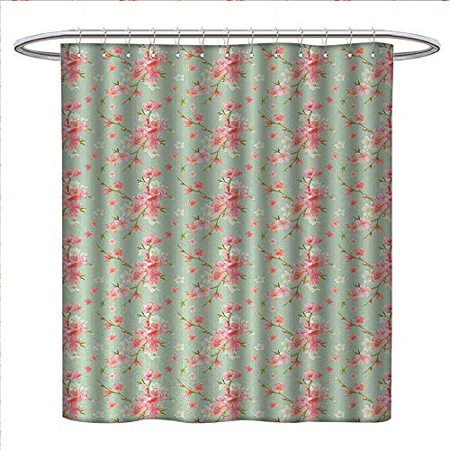 (Anniutwo Shabby Chic Shower Curtains Fabric Retro Spring Blossom Flowers with French Garden Florets Garland Artisan Image Fabric Bathroom Set with Hooks W48 x L72 Mint Pink)