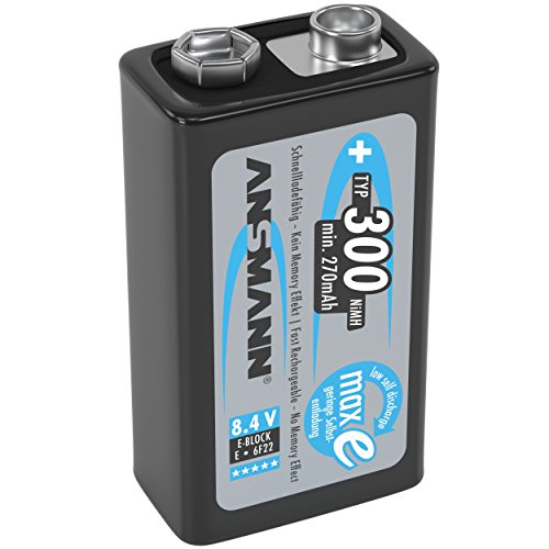 ANSMANN 9V Rechargeable Batteries 300mAh pre-charged Low Self-Discharge (LSD) NiMH 9 Volt Battery 9V Battery (1-Pack) by Ansmann