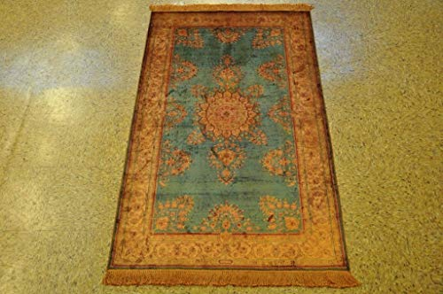 Sarouk Slate Blue - Antiqued Gold Handmade Area Rug 3x5 Rugs for Sale ()