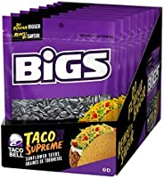 Bigs Sunflower Seeds Taco Bell Flavour - 8x140g Bags Total, Taco Bell Taco Supreme, 8 Count