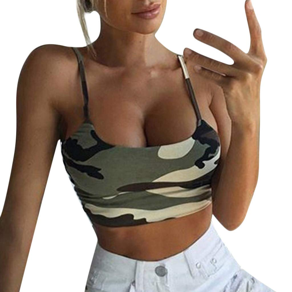 Libermall Women's Tank Tops Loose Fit Summer Camouflage Bustier Crop Cami Vest Sleeveless Shirts Blouse Tops
