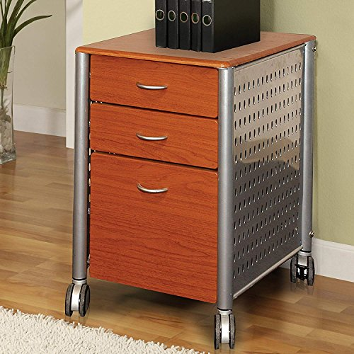 Mobile File Cabinet, 3 Drawer Metal and MDF Wood Filing Cabinet with Wheels Lockable, Medium Cherry