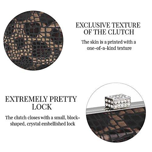 TrendStar - Cartera de mano para mujer negro - Black Crystal Encrusted Clutch