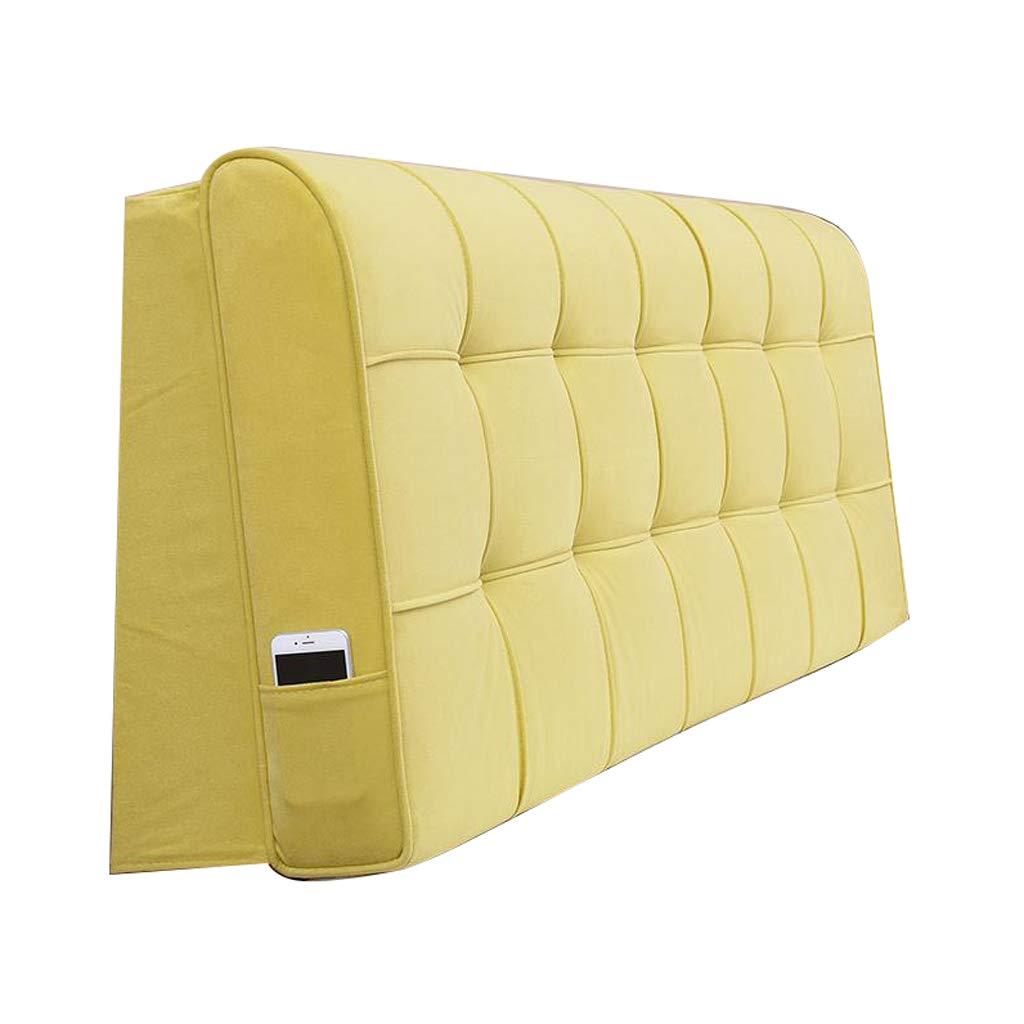 OLLY-ヘッドボード クッショ ベッドサイドバッククッション完全に包まれたベッドサイドダブルロングピローソファソフトバッグ取り外し可能な洗える腰部ピロー (色 : 黄, サイズ さいず : 190X58CM) B07QNBQCKB