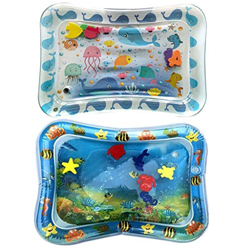 MAMaiuh 2PCS/Square Inflatable Premium Water Mat Play Water Cushion Babies Infants & Toddlers, Activity Play Center (B&W)