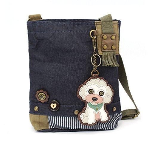 Chala Patch Cross-Body Women Handbag, Canvas Messenger Bag (Poodle Denim Blue)