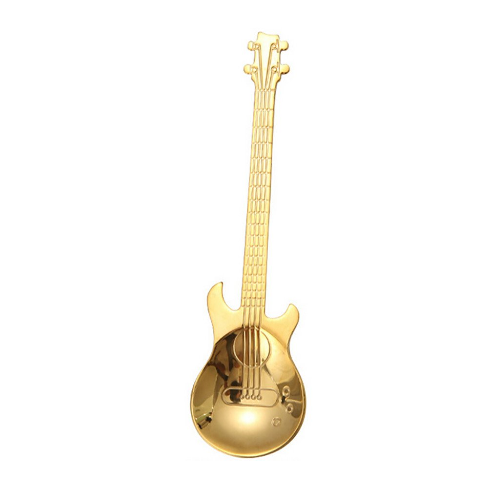 Cyhulu 2019 New Fashion Little Teaspoons Cute Solid Creative Exquisite Guitar Carved Stainless Steel Coffee Spoon Tea Spork Kitchen Tools (Gold, One size)