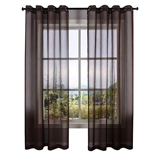 DWCN Brown Semi Sheer Curtains Bedroom Curtains Faux Linen Look Voile Drapes Grommet Top Window Curtain Panel 52 x 84 inches Long,Set of 2 Panels