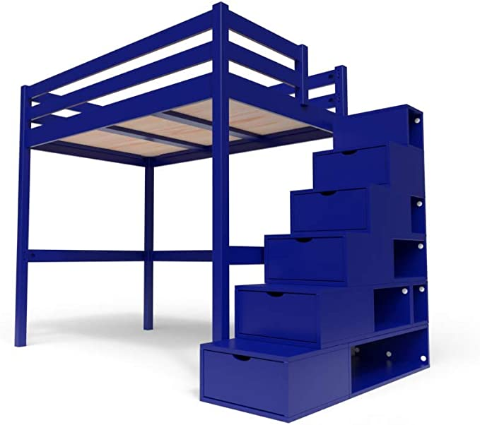 ABC MEUBLES - Cama Alta Sylvia con Escalera Cubo - Cube - Azul Oscuro, 120x200: Amazon.es: Hogar